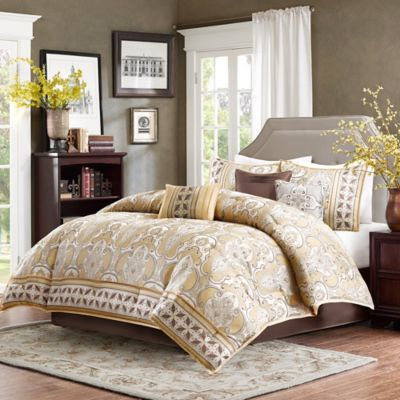 Madison Park Chapman 7-Piece Queen Comforter Set in Gold