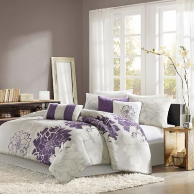 Madison Park Lola 7-Piece Reversible California King Comforter Set in Grey/Purple