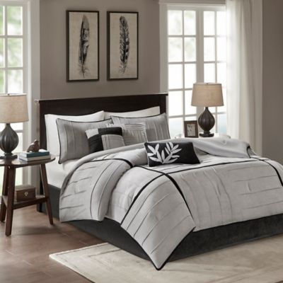 Madison Park Connell 6-Piece Full/Queen Duvet Cover Set in Grey