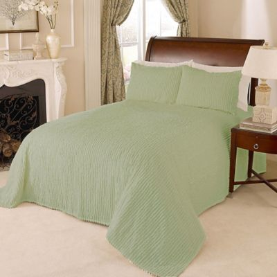 Channel Chenille Full Bedspread in Green