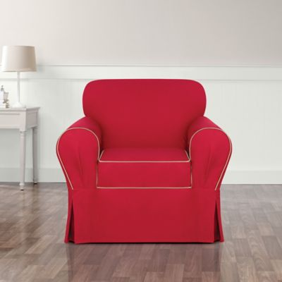 Sure Fit® Monaco Chair Slipcover in Khaki/Red