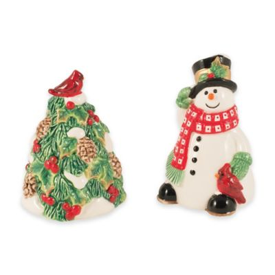 Fitz and Floyd® Holly Berry Snowman Salt and Pepper Shakers