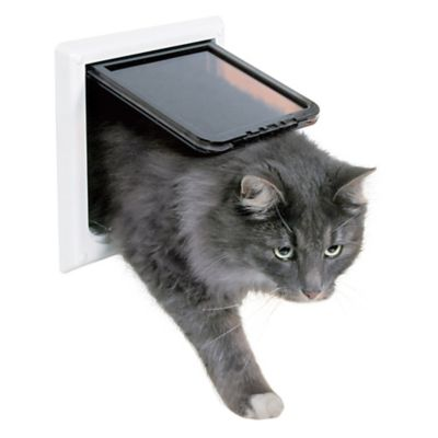 4-Way X-Large Cat Door with Tunnel Extender In White