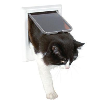 Electromagnetic 4-Way Cat Door in White