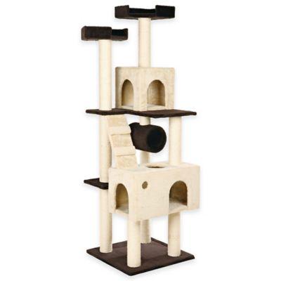 Mariella Cat Playground with 2 Hideaways and 2 Pedestals in Biege/Brown