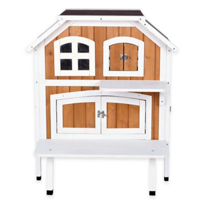Trixie Bartolo 2-Story Cat Cottage in Brown/White