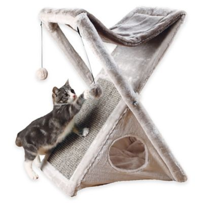 Miguel Fold and Store Cat Tower in Light Grey