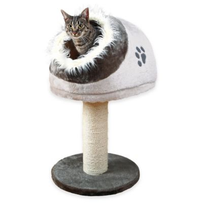 Minou Scratching Post with Pedestal Hideaway in Grey