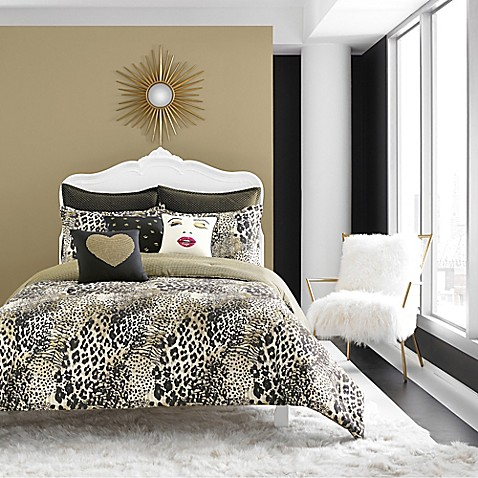 buy betsey johnson wild thing reversible twin comforter set in black gold from bed bath beyond. Black Bedroom Furniture Sets. Home Design Ideas