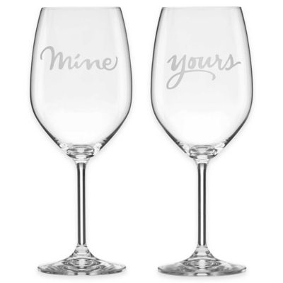 "kate spade new york Two of a Kind™ ""Mine"" & ""Yours"" Wine Glasses (Set of 2)"