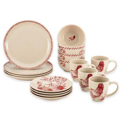 Bonjour Chanticleer Country 16-Piece Dinnerware Set