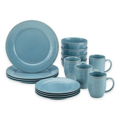 Rachael Ray Cucina Stoneware 16-Piece Dinnerware Set in Blue