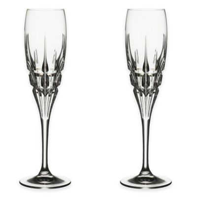 Lorren Home Trends Carrara Champagne Flutes from the DaVinci Line (Set of 2)