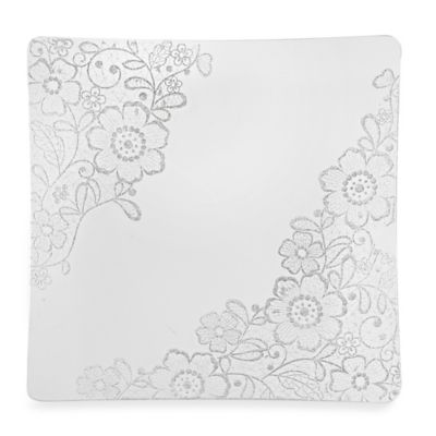 Classic Touch Glittered Square Charger Plates in Silver (Set of 4)