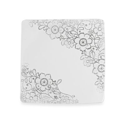 Classic Touch Glittered Square Dessert Plates in Silver (Set of 4)