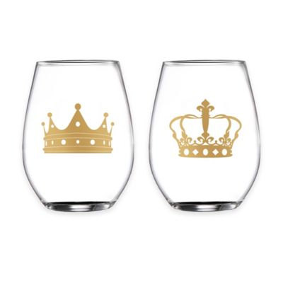 Fifth Avenue Crowns Gold Stemless Wine Glasses (Set of 2)