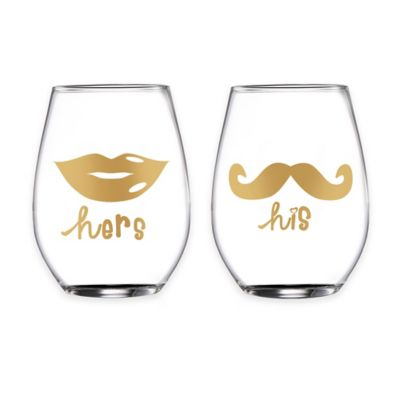 """Fifth Avenue Crystal """"his"""" and """"hers"""" Gold Script Stemless Wine Glasses (Set of 2)"""