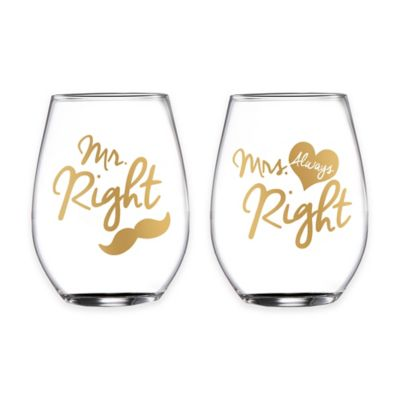 "Fifth Avenue Crystal ""Mr. Right"" and ""Mrs. Always Right"" Stemless Wine Glasses (Set of 2)"