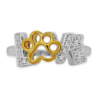 """ASPCA® Tender Voices Gold-Plated Sterling Silver .08 cttw Diamond Size 5 Paw Print """"Love"""" Ring"""