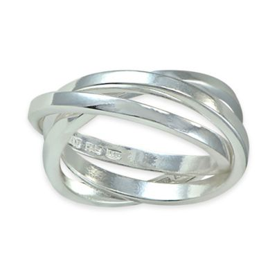 Sterling Silver Three-Stack Interlocked Size 6 Ladies' Rolling Ring