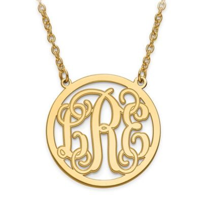 10K Yellow Gold 18-Inch Chain Script Letters Small Circle Pendant Necklace