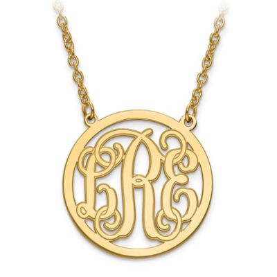14K White Gold 18-Inch Chain Script Letters Small Circle Pendant Necklace