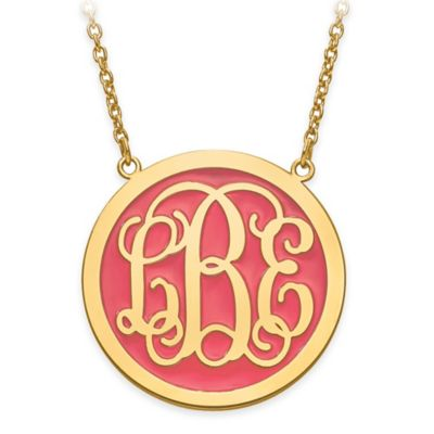 14K Gold-Plated Sterling Silver Elegant Letters Solid Coral Enamel Circle Pendant Necklace