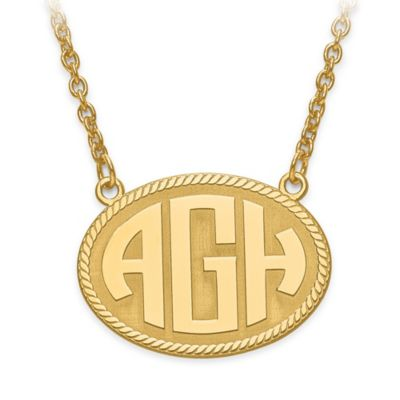10K Yellow Gold 18-Inch Chain Block Letters Small Oval Plate Pendant Necklace