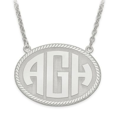 10K White Gold 18-Inch Chain Block Letters Medium Oval Plate Pendant Necklace