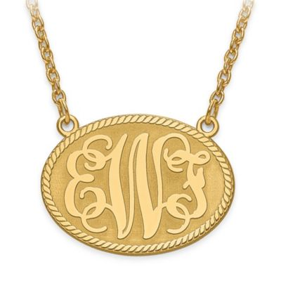 10K Yellow Gold 18-Inch Chain Elegant Letters Small Oval Plate Pendant Necklace