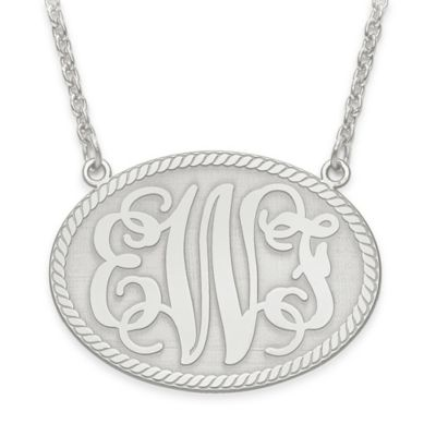 10K White Gold 18-Inch Chain Elegant Letters Medium Oval Plate Pendant Necklace
