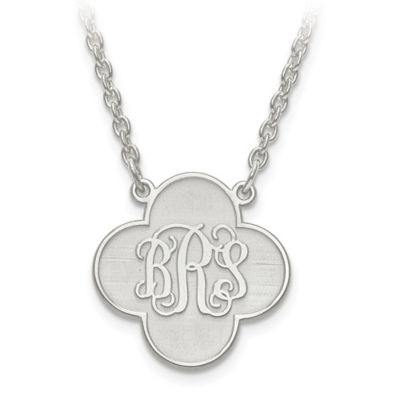 Sterling Silver Script Letters 18-Inch Chain Clover Pendant Necklace