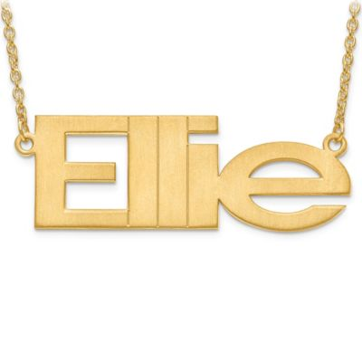 14K Gold-Plated Sterling Silver Laser-Cut 18-Inch Chain Brushed Nameplate Pendant Necklace
