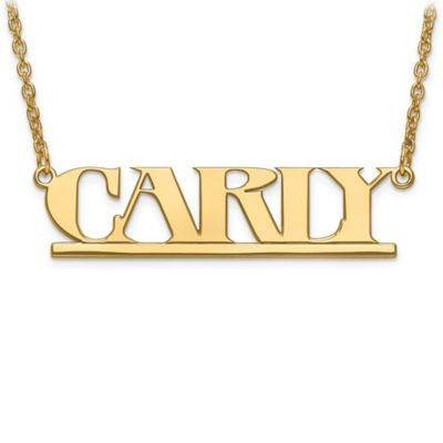 10K Yellow Gold Laser-Cut Block Font 18-Inch Chain Nameplate Pendant Necklace