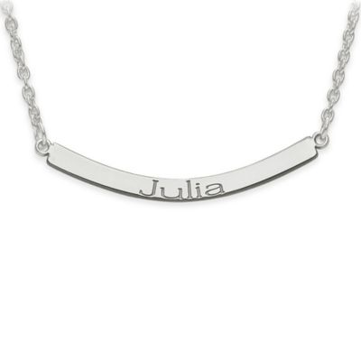 10K White Gold Recessed Letters 18-Inch Curved Nameplate Bar Pendant Necklace