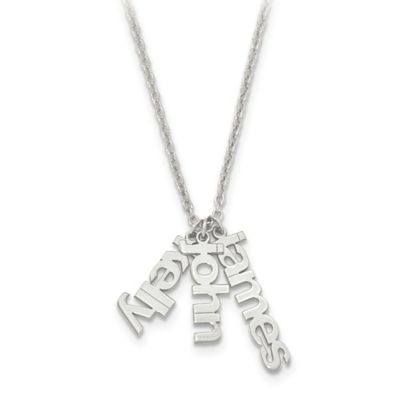 Sterling Silver 18-Inch Chain Name Charms Trio Necklace