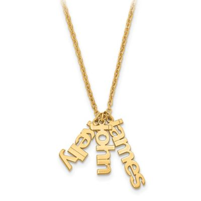 10K Yellow Gold 18-Inch Chain Name Charms Trio Necklace