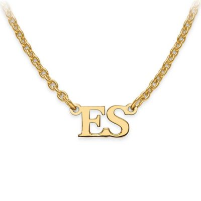14K Gold-Plated Sterling Silver 18-Inch Chain Block Initials Pendant Necklace