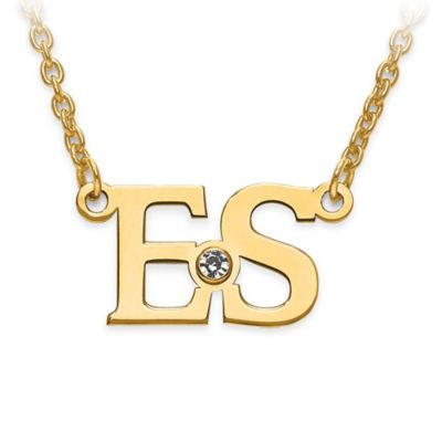 14K Gold-Plated Sterling Silver White Crystal 18-Inch Chain Block Initials Pendant Necklace