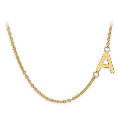 Gold-Plated Sterling Silver Sideways Letter 18-Inch Chain Offset Necklace