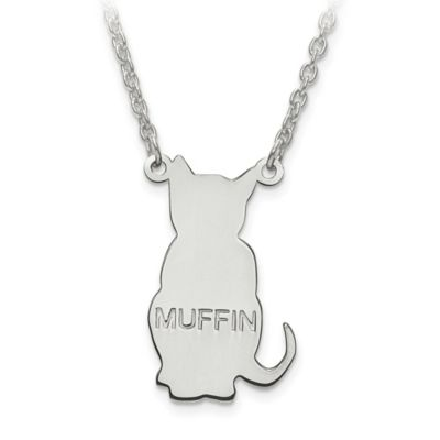 14K Yellow Gold Laser-Cut Block Letters 18-Inch Chain Cat Silhouette Pendant Necklace