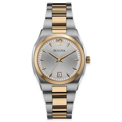 Bulova Ladies' 34mm Watch in Two-Tone Stainless Steel with Silvertone Sunburst Dial