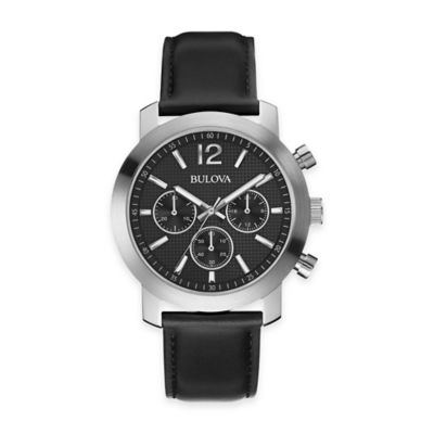 Bulova Men's 40mm Chronograph Watch in Stainless Steel with Black Leather Strap