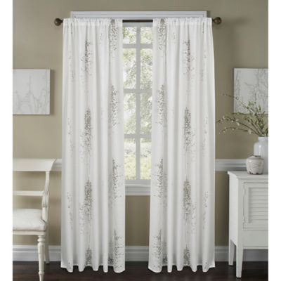 Janette 63-Inch Sheer Window Curtain Panel in White/Grey