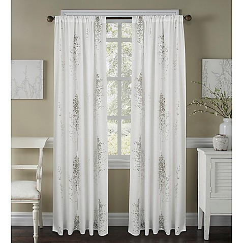 buy janette 63 inch sheer window curtain panel in white