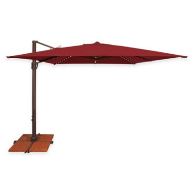 SimplyShade Bali Pro10-Foot Square Cantilever Aluminum Solefin Umbrella w/Star Lights in Sky Blue