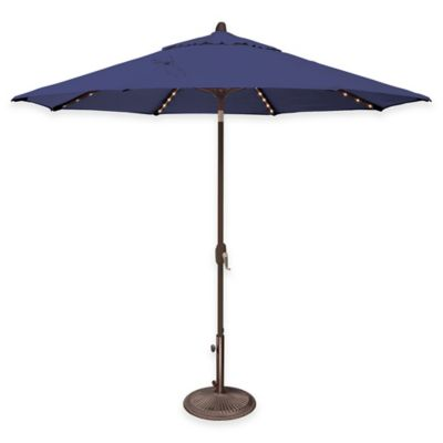 SimplyShade® Lanai 9-Foot Octagon Aluminum Solefin Umbrella w/Star Lights in Forest Green