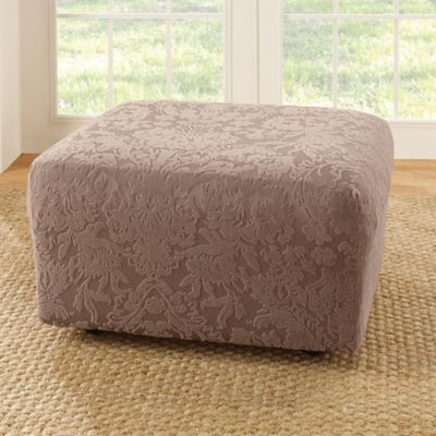 Sure Fit® Stretch Jacquard Damask Ottoman Slipcover in Mushroom