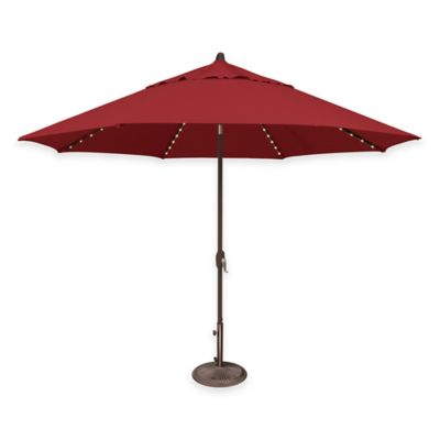 SimplyShade® Lanai 11-Foot Octagon Aluminum Market Umbrella with Star Lights in Red