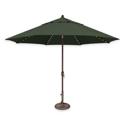 SimplyShade® Lanai 11-Foot Octagon Aluminum Market Umbrella with Star Lights in Green